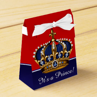 Blue Red Gold Crown Little Prince Boy Baby Shower Favour Boxes