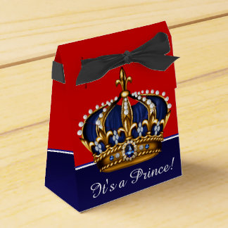 Blue Red Gold Crown Little Prince Boy Baby Shower Wedding Favour Boxes