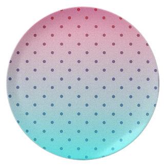 Blue Red Gradiant Black Polka Dots Pattern Dinner Plates