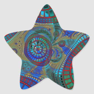 Blue Red Green Fractals Modern Art Star Sticker
