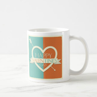 Blue Red Happy Valentines day design with heart Coffee Mugs