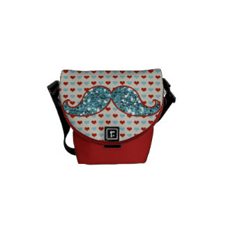 BLUE RED MUSTACHE AND HEARTS GLITTER COURIER BAG