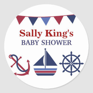 Blue & Red Nautical Baby Shower Sticker