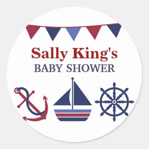 Blue & Red Nautical Baby Shower Sticker