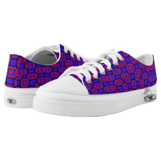 Blue red pattern printed shoes