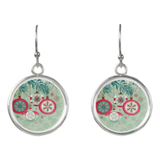 Blue & Red Retro Christmas Ornaments Earrings