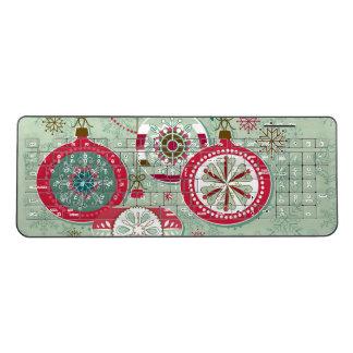 Blue & Red Retro Christmas Ornaments Wireless Keyboard