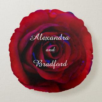 Blue Red rose, bride groom custom wedding Round Cushion