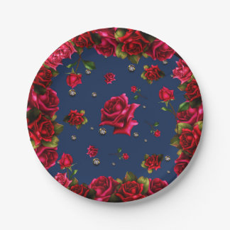 Blue Red Roses & Diamond Bling Elegant Party Paper Plate