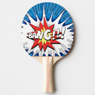 Blue & Red Stars Comic Explosion Personalized Bang Ping Pong Paddle