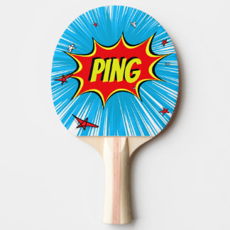 Blue & Red Stars Comic Explosion Personalized Ping Ping Pong Paddle