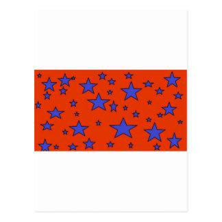 blue red stars postcard