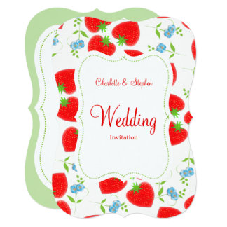 Blue Red Strawberries and Flowers Elegant Wedding Card