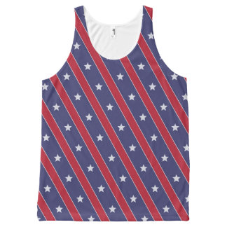 Blue Red Stripes Stars pattern All-Over Print Tank Top