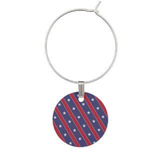 Blue Red Stripes Stars pattern Wine Charm