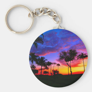 Blue Red Sunset Exotic Hawaiian Beach Palm Trees Basic Round Button Key Ring