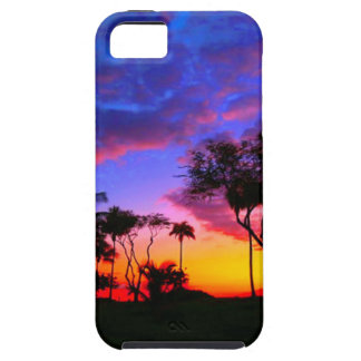 Blue Red Sunset Exotic Hawaiian Beach Palm Trees Case For The iPhone 5
