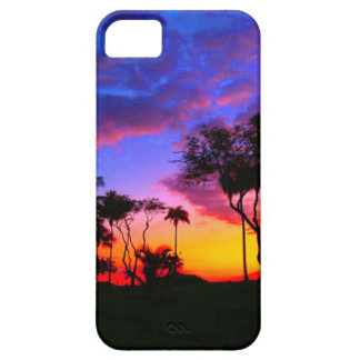 Blue Red Sunset Exotic Hawaiian Beach Palm Trees iPhone 5 Cases