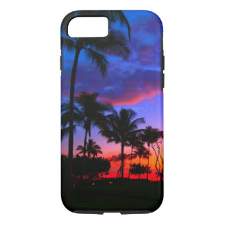 Blue Red Sunset Exotic Hawaiian Beach Palm Trees iPhone 7 Case