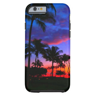 Blue Red Sunset Exotic Hawaiian Beach Palm Trees Tough iPhone 6 Case