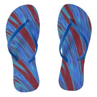 Blue Red Swish Design Thongs