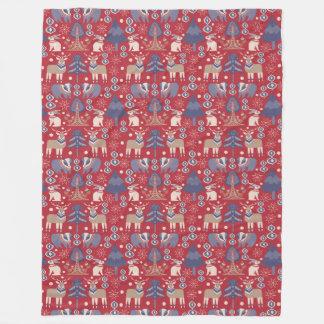 Blue Red Tan Nordic Scandinavian Pattern Fleece Blanket