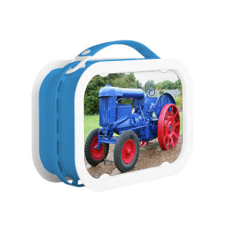 Blue & red tractor lunch box