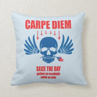 Blue Red Vintage Retro Carpe Diem. Seize the day Cushion