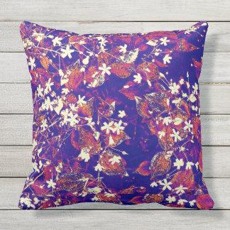 Blue red white floral tough cotton outdoor pillow