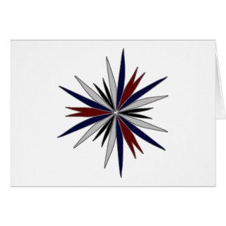 Blue / Red / White Star Design Greeting Card