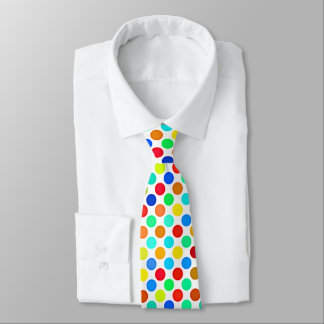 Blue Red Yellow Green Orange Polka Dots Pattern Tie