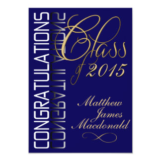 Blue Reflection  Formal Graduation Party 5x7 Paper Invitation Card