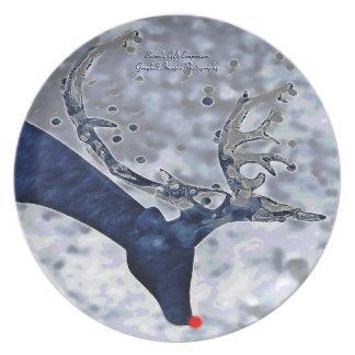 Blue Reindeer Party Plate