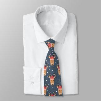 Blue Reindeer Rustic Cute Whimsical Fun Holiday Tie