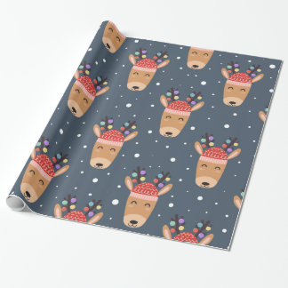 Blue Reindeer Rustic Cute Whimsical Fun Holiday Wrapping Paper