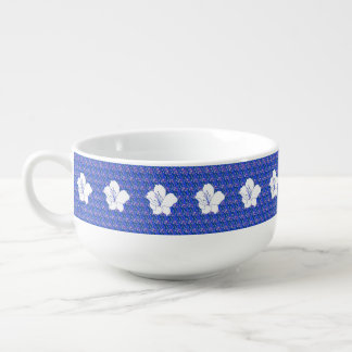 Blue Repeated White Flower Pattern Soup Mug