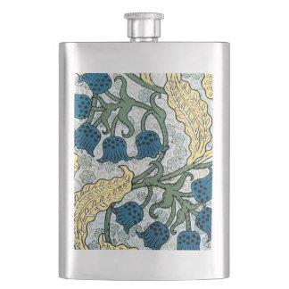 Blue Repeating Floral Pattern Hip Flask