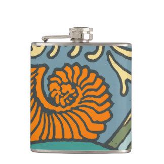 Blue Repeating Pattern Ocean Hip Flask