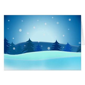 Blue Retro Christmas Trees Greeting Card