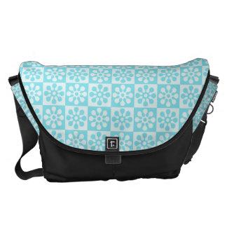 Blue Retro Flower Pattern Messenger Bags