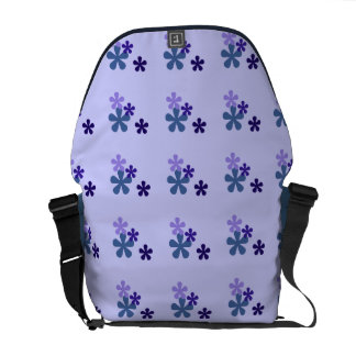 Blue Retro Flowers Messenger Bag