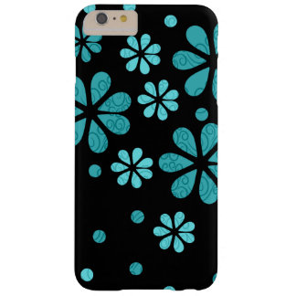 Blue Retro Flowers On Black Barely There iPhone 6 Plus Case