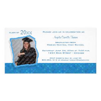 Blue Retro Inspired Polka Dot Graduation Invite Photo Greeting Card