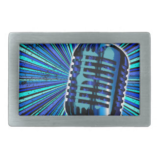 Blue Retro Microphone Belt Buckle