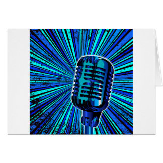 Blue Retro Microphone Card
