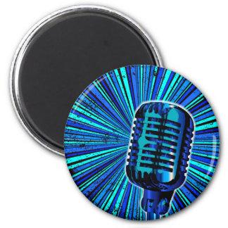 Blue Retro Microphone Magnet