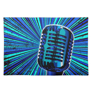 Blue Retro Microphone Placemat