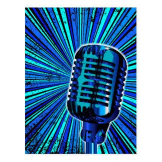 Blue Retro Microphone Postcard