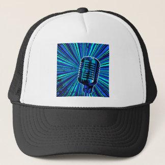 Blue Retro Microphone Trucker Hat