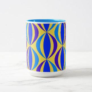 Blue Retro Pattern Two-Tone Coffee Mug